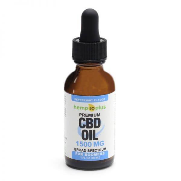 1500 mg CBD oil, broad-spectrum, 50 mg of CBD per serving, peppermint flavor